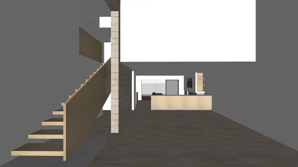 stone + wood at stair / living room + entry