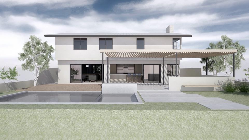 rear elevation / huntington beach modern addition