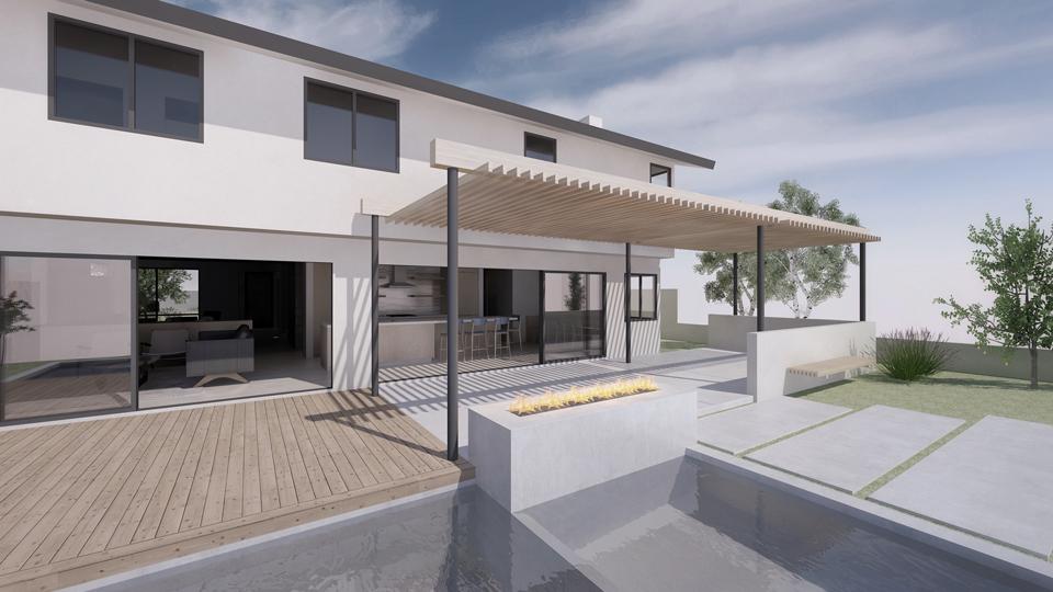 open living at rear / rear design rendering