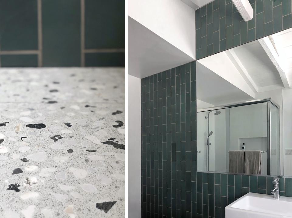 heath tile + terrazzo / secondary bath
