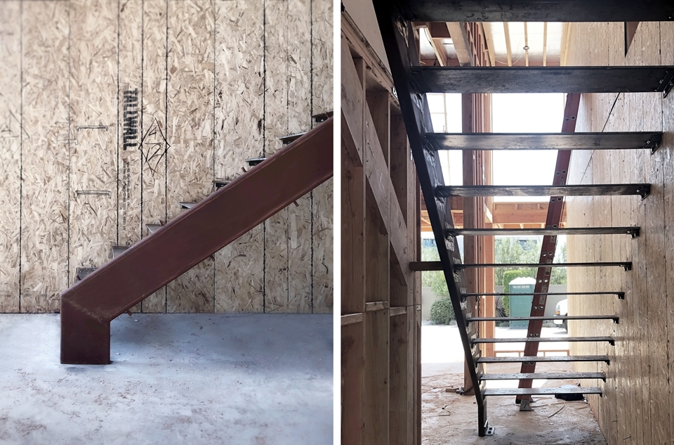 structural steel at new floating stair