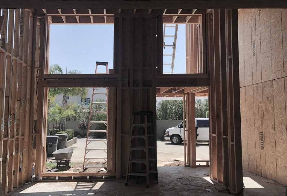 view from new living room / modern addition, huntington beach ca