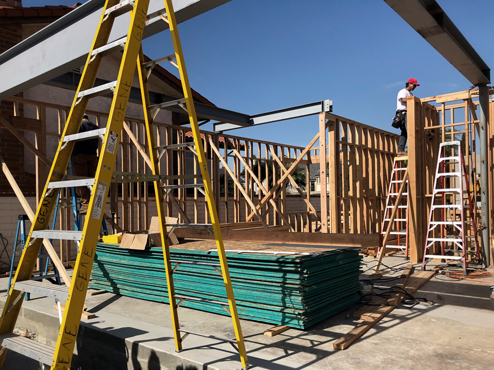 first floor framing / huntington harbour house
