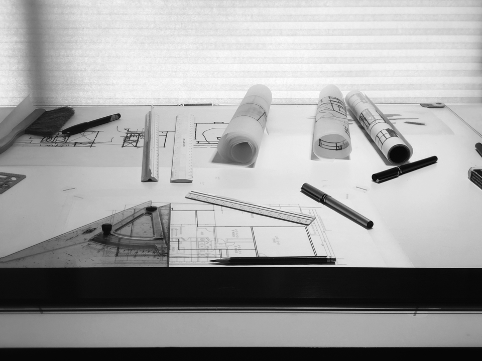 architectural studio drafting table perspective