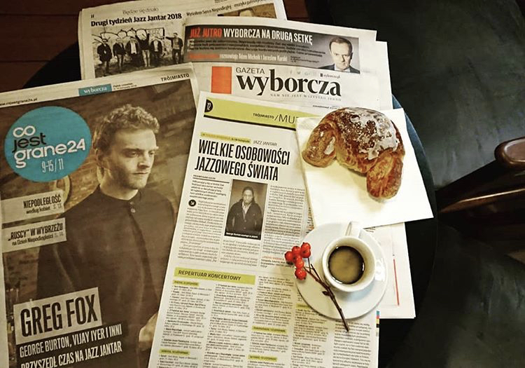 Front page news for the Jazz Jantar festival in Gdansk Poland- November 2018