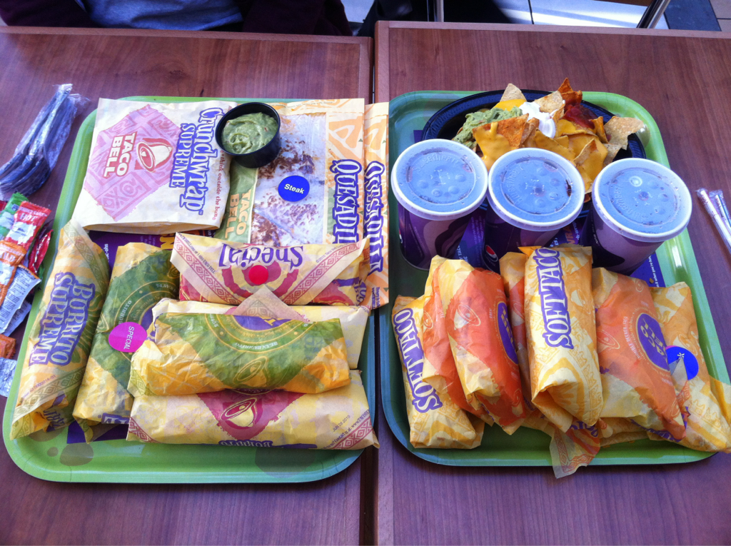 One of EVERYTHING on the menu / Taco Bell / Lakeside, UK (but none of the veggie nonsense)