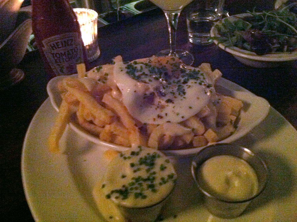Fries + mornay sauce + fried egg = coronary inducing happiness