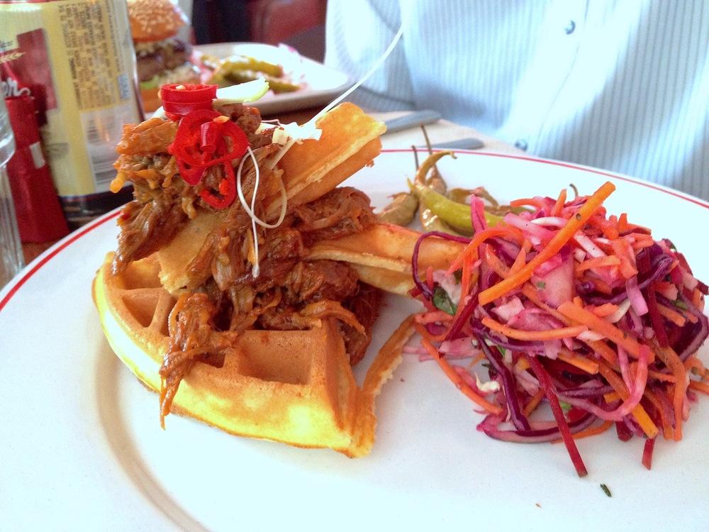 Porky stuff wanged on a waffle wotsit