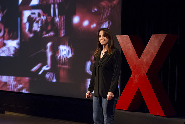Amy Logan on the TEDxSacramento stage.