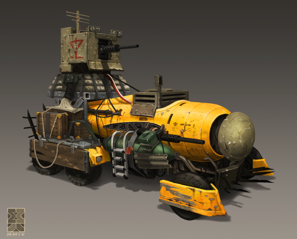 This wasteland vehicle draws power through a prop plane fuselage via a belt run into a drive shaft and transmission mounted below. The .50 caliber M1 on the back has some makeshift armor welded around it and has a slow but powered turret traverse.