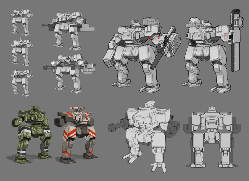 This is a small sample of a mech based mobile game with a strongfocuson modularity and readability on a mobile screen.