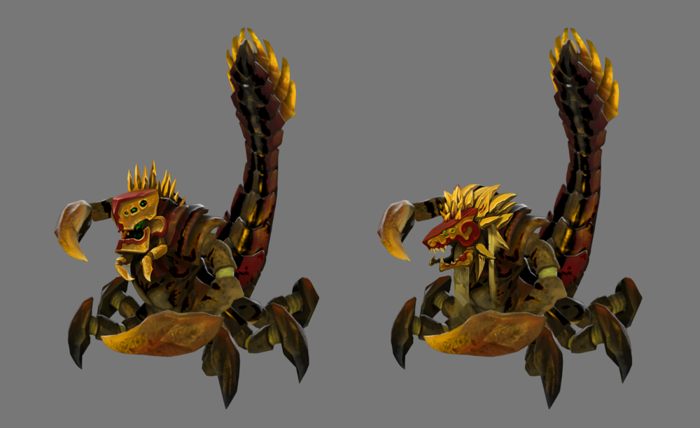 "These were head redesign's for DOTA2's ""Sand King"" hero"