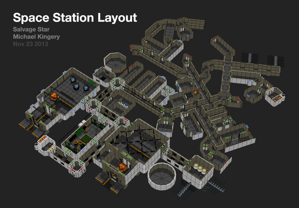 """This """"station layout"""" was done as previs showing off a gradient between """"protected and orderly"""" down to space slums."""