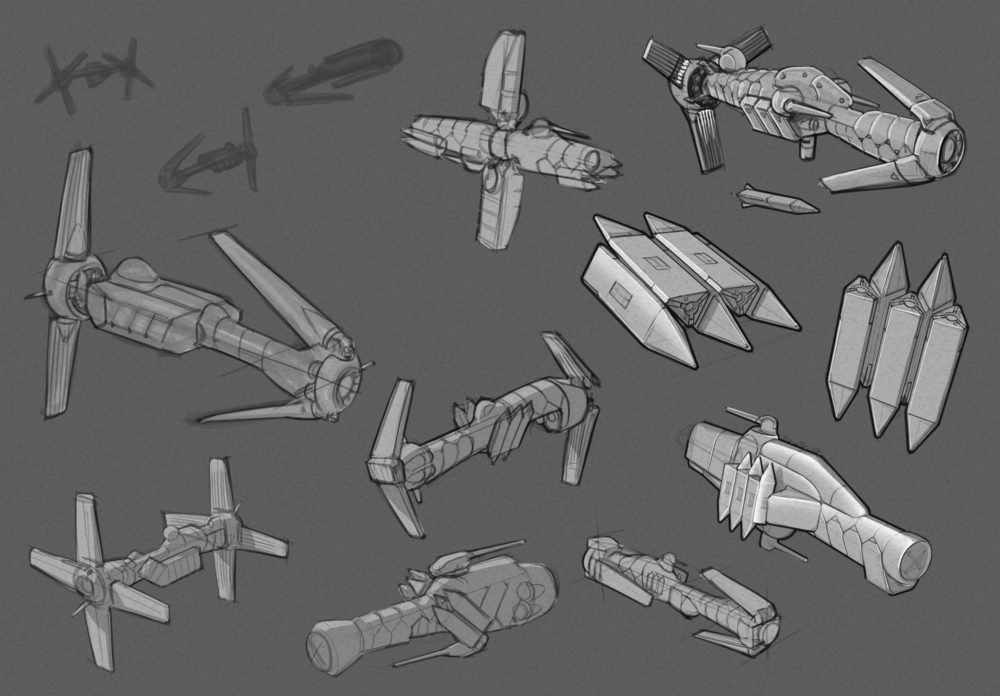 From the onset I wanted this ship type to be a harder scifi and a happy byproduct was having lots of fun moving parts!