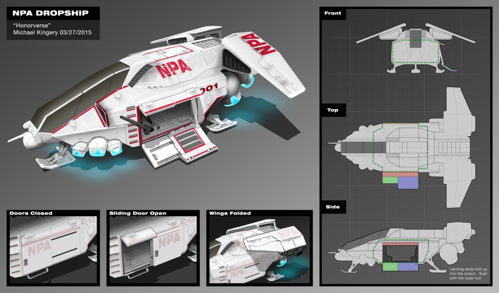 "This dropship was the culmination of 4 rounds of back and forth with the studio's AD and the rights holders. The brief was to create a vehicle capable of carrying 8 to and from a planet's surface along with a crew of 2. The words ""sleek"" and ""Industrial"" were used in the same sentences a lot so there needed to be some shakeout."