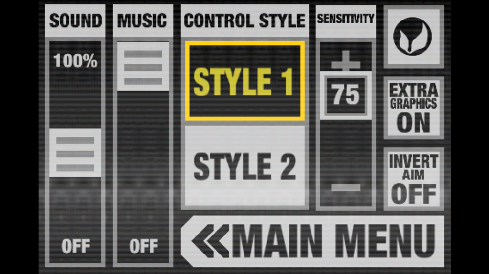 BB-1 options menu. The texture you see is an animated scan line effect.