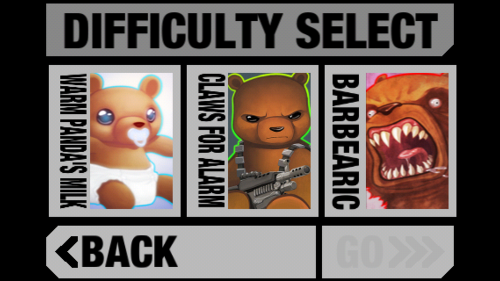 BB-1 Difficulty Select Screen. (I think the panel alignment issue is due to a poor screenshot.