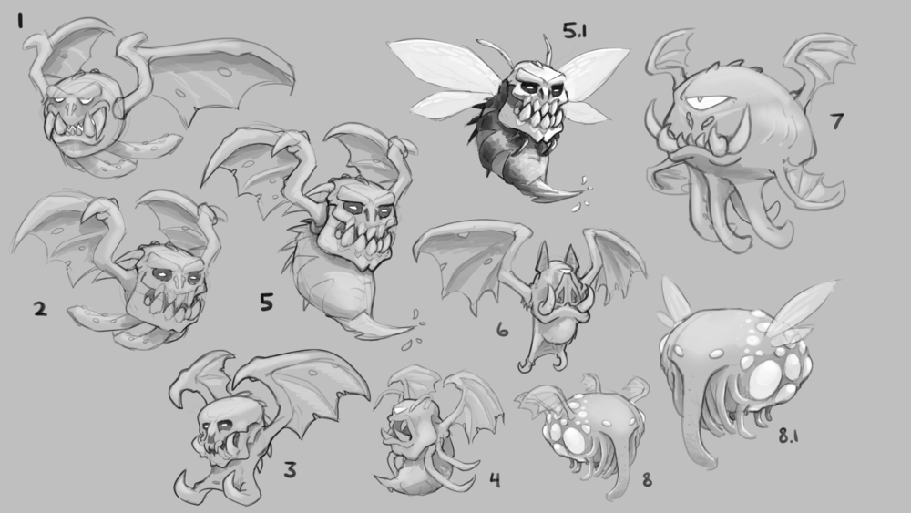 This was one of my first concept rounds at JB gaming - so lots of range trying to figure out the right mixture of scary and goofy.