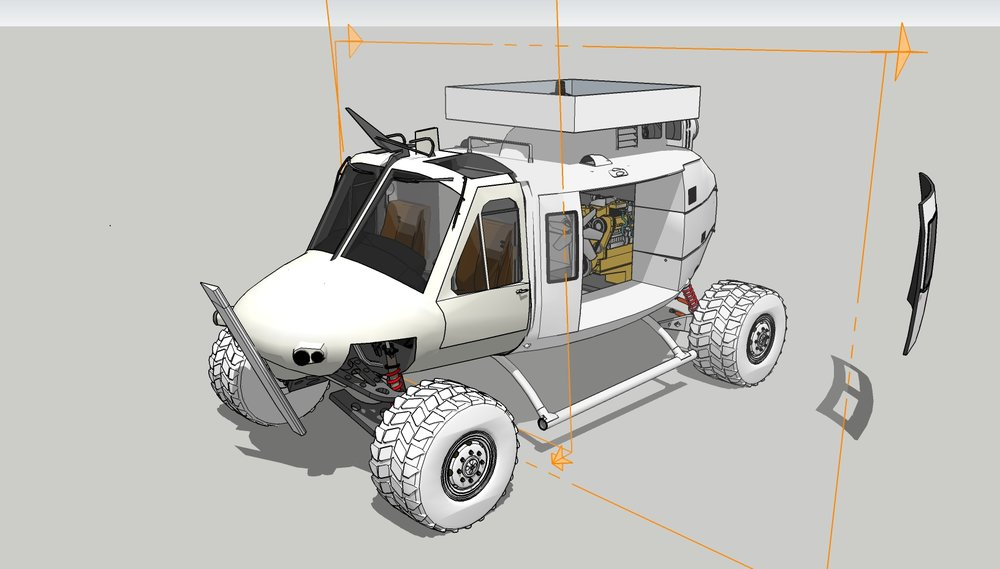 A render of the Frankenstein Sketchup model at what I would consider my usual 3/4 angle of comfort.