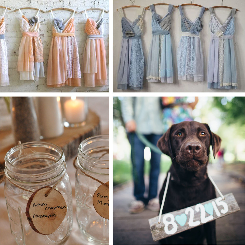 mood board: bridesmaid dresses, mason jars favors and their beloved pooch.