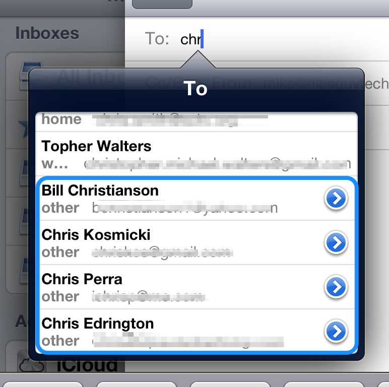 Email addresses that have blue circles with white arrows to the right are recent recipients.