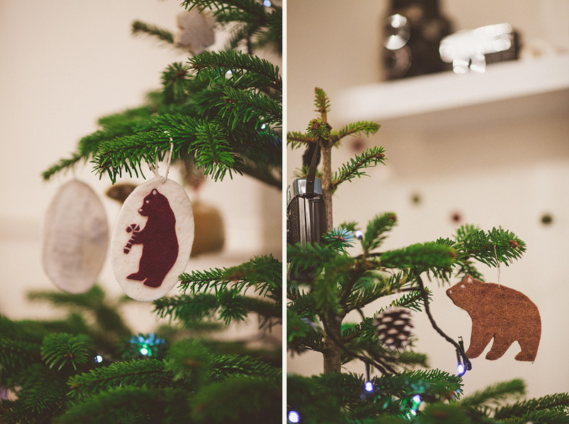 I made these felt ornaments from a Martha Stewart tutorial.