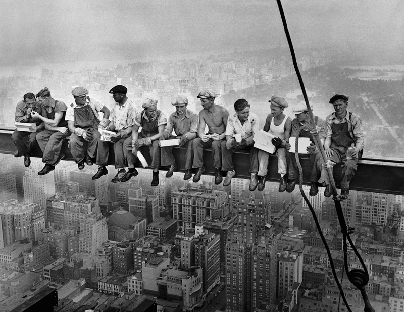 Workers on a Steel Beam (photographer unknown)