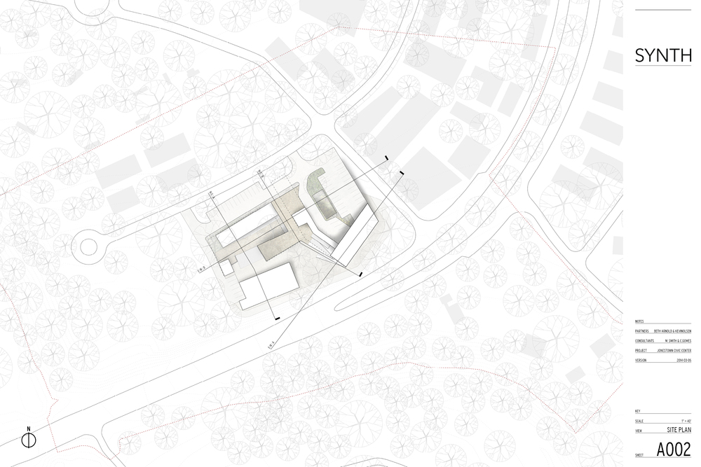 Site plan of the Jonestown City Center - SYNTH Design Collaborative
