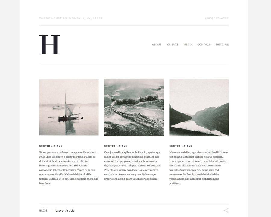 New business templates hudson and montauk the official for Best squarespace template for blog