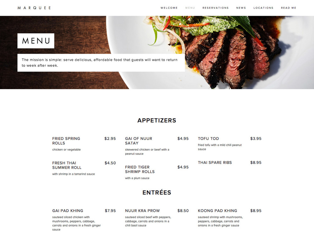 Squarespace Menu Block Example
