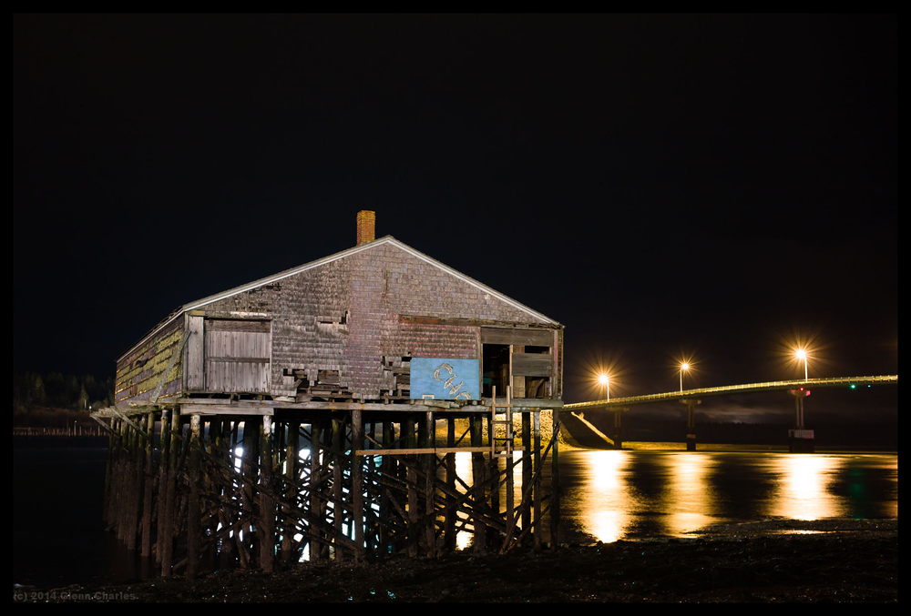 Downeast Maine, an old Smoke House barely stands tall -- ISO 1600, 8 seconds