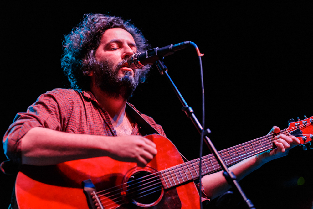Dan Bejar of The New Pornographers performing at The National (photo by Matt Condon)