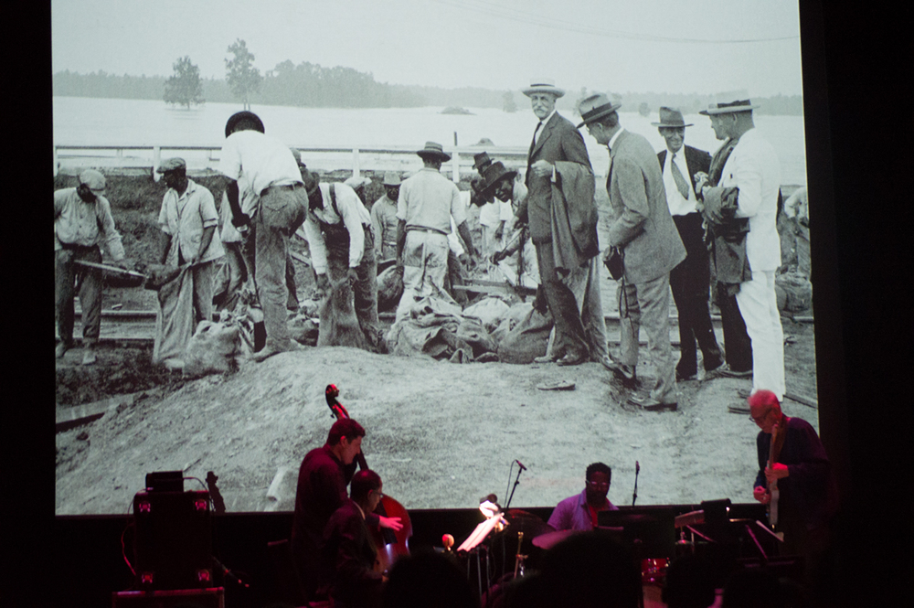 Bill Frisell and company score the silent film The Great Flood.  Bow down to Bill Frisell. (photo by Patrick Jacobi)