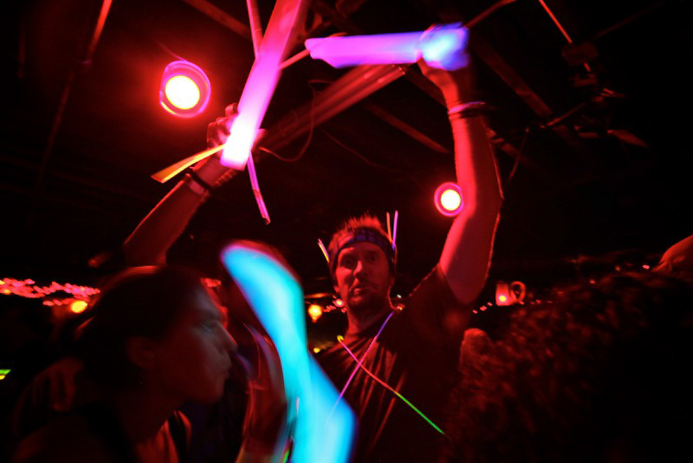 Glow Stick Friends  The basement venue Neptune's can be a little dark. Good thing we have glow sticks! (Photo by PJ Sykes |  www.pjsykes.com )