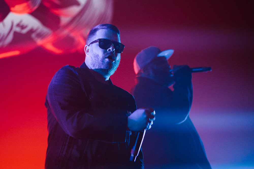 Dynamic. Fucking. Duo.  Run The Jewels Killer Mike and El-P slayyyyyyyying at Echostage in Washington, DC - 1/19/17 (Photo by Mauricio Castro/ @TheMauricio