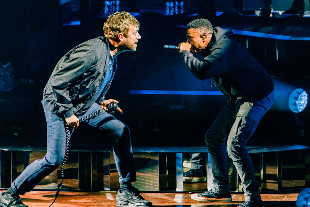 "Damon Albarn with guest Vince Staples performing ""Ascension"" from the latest Gorillaz album  Humanz  at Merriweather Post Pavilion in Columbia, MD on July 17th, 2017 (photo by Matt Condon /  @arcane93 )"