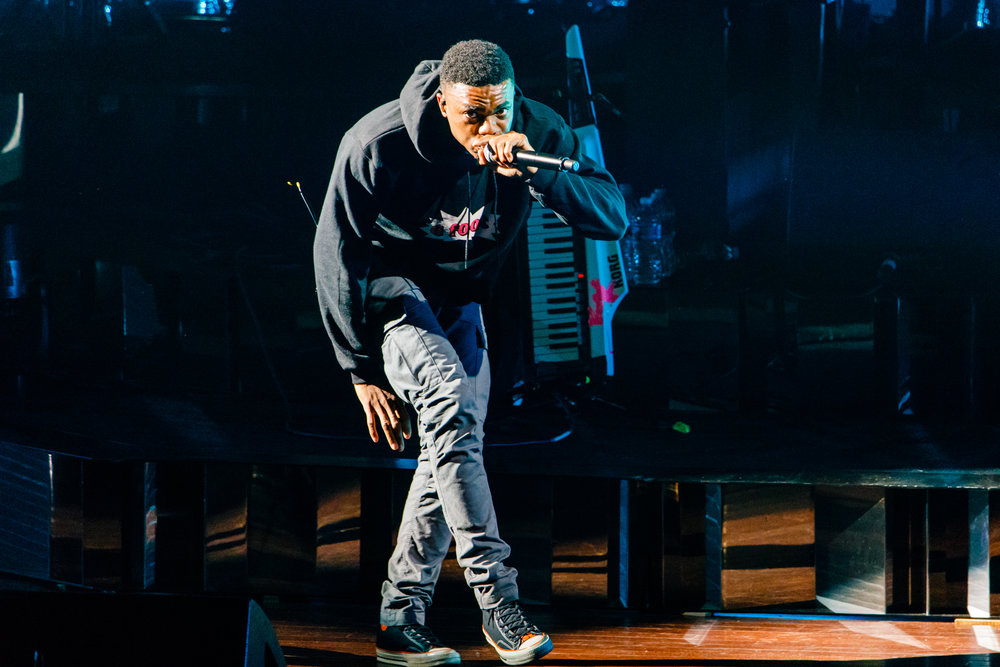 Vince Staples performing with Gorillaz at Merriweather Post Pavilion in Columbia, MD - 7/17/2017 (photo by Matt Condon / @arcane93)