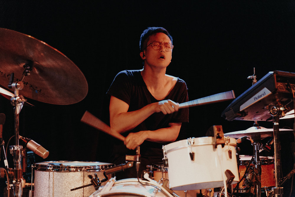 Son Lux's Ian Chang leaving it all on the drum kit (Photo by Mauricio Castro /  @themauricio )
