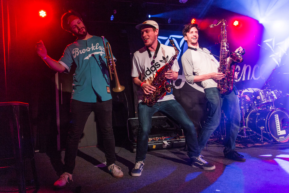 The horn section of Lawrence getting down at Union Stage (photo by Mauricio Castro /  @themauricio )