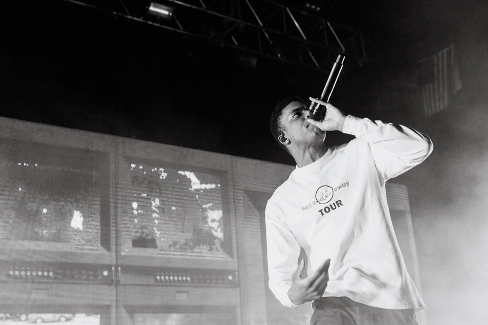 Vince Staples performing at The Riviera Theatre in Chicago, IL on 3/12/19. (Photo By Alex Schelldorf)