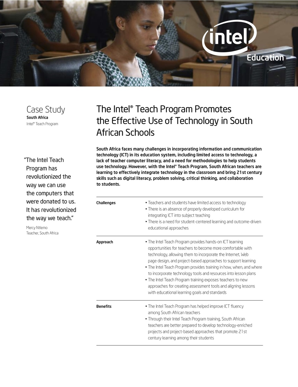 Intel Teach– South Africa Case Study