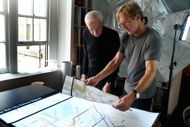 Massimo and John Madere setting up a shot of his NYC Subway map