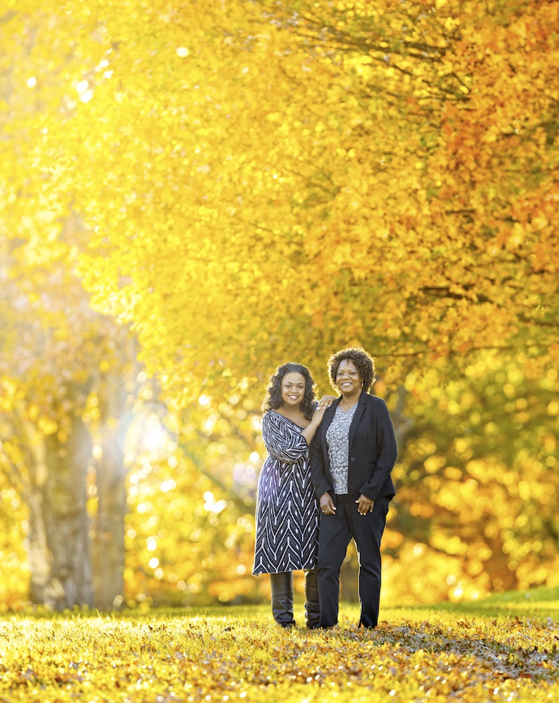 A mother/daughter portrait in the woods. We had to push our publication deadline a little while waiting to shoot during peak fall colors.