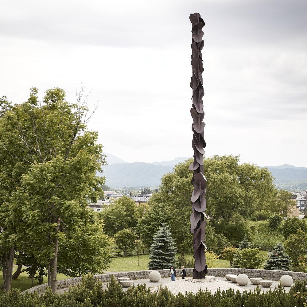 Sakura Nomiyama, Design Historian for the Cooper Hewitt, Smithsonian Design Museum and Takenobu Igarashi visit the artist's Dragon Spine sculpture in Hokkaido.