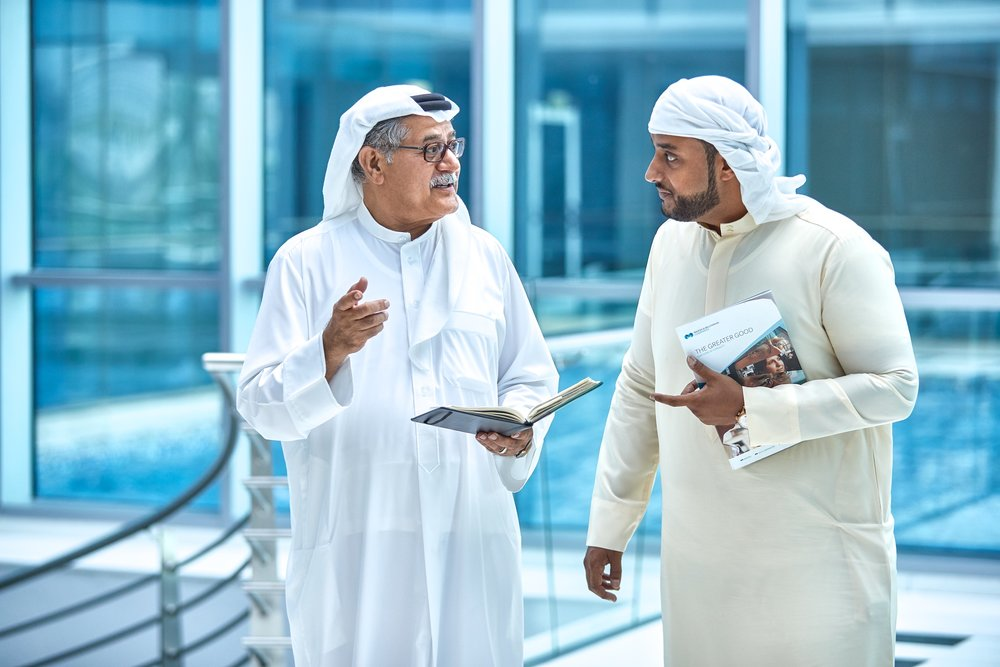 DUBAI: Most of the client's employees here wear standard Western business attire, but this isn't mandated. Showing traditional garb in the workplace provides a sense of place and diversity.