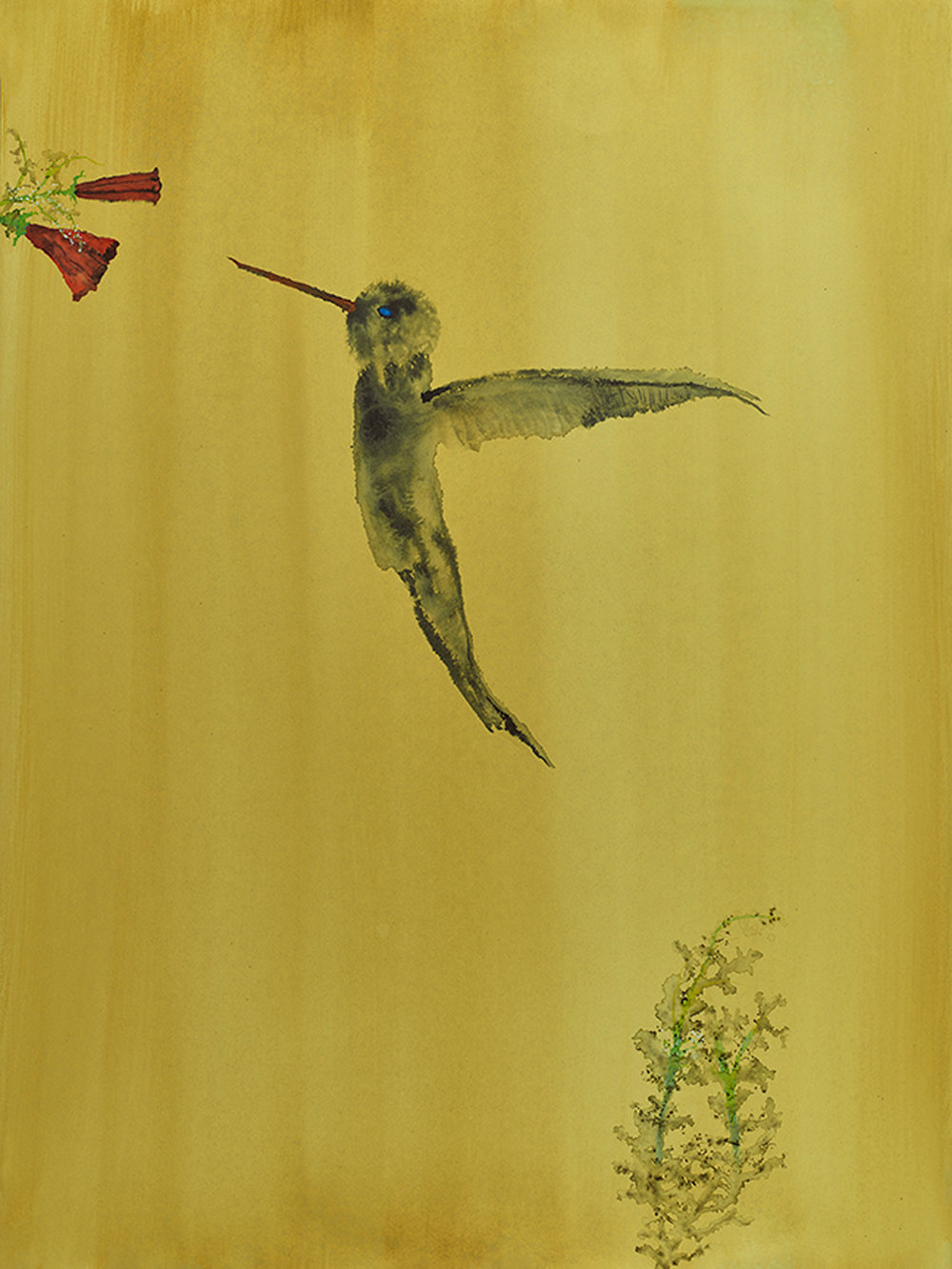 "Hummingbird , watercolor on paper, 24""x18"", 2017"