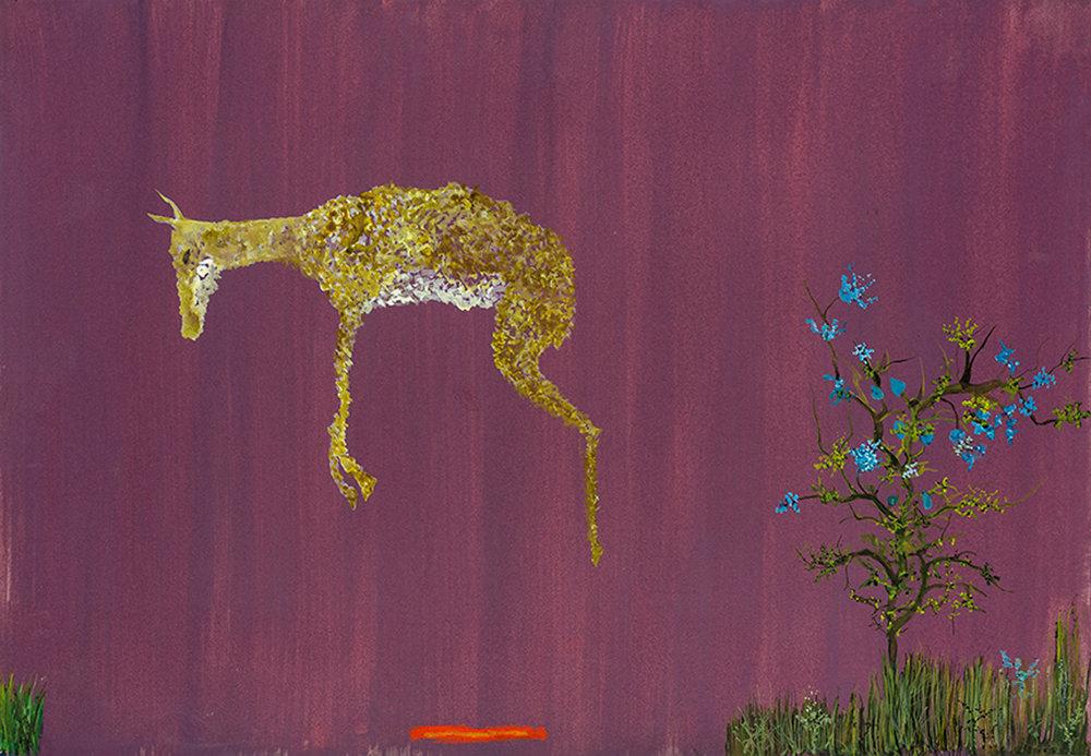 "Gazella , watercolor, oil pastel on paper, 20""x14"", 2019"
