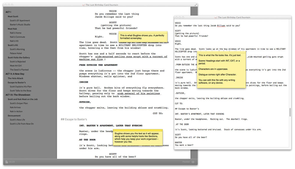 Slugline turns plain text into a screenplay as you type.