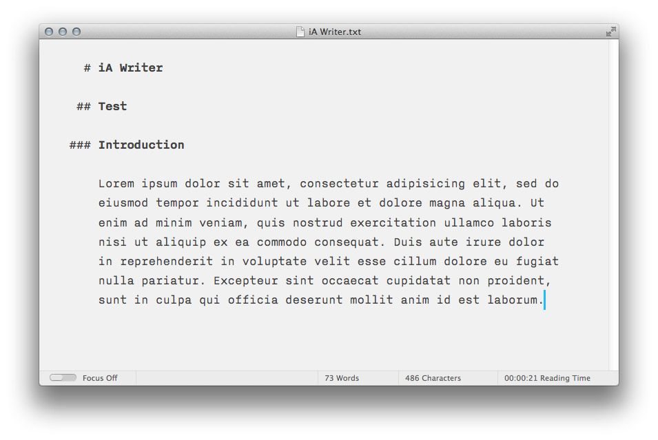 iA Writer 2012.