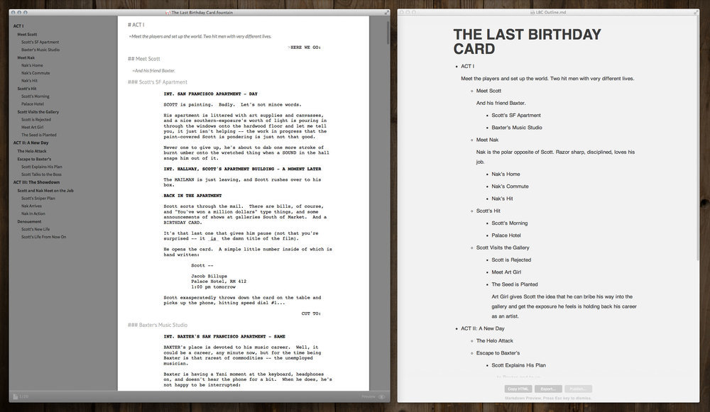 Fountain screenplay in Slugline on the left. Outline-only document in Byword on the right. All powered by nothing but text.